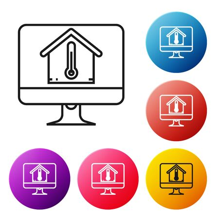 Black line Computer monitor with house temperature icon isolated on white background. Thermometer icon. Set icons colorful circle buttons. Vector Illustration Illusztráció