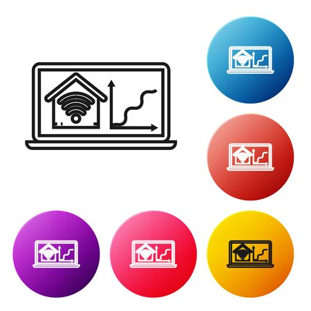 Black line Laptop with smart home with wifi icon isolated on white background. Remote control. Set icons colorful circle buttons. Vector Illustration