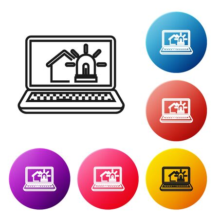Black line Laptop with smart house and alarm icon isolated on white background. Security system of smart home. Set icons colorful circle buttons. Vector Illustration