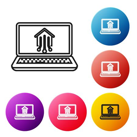 Black line Laptop with smart home icon isolated on white background. Remote control. Set icons colorful circle buttons. Vector Illustration Illusztráció