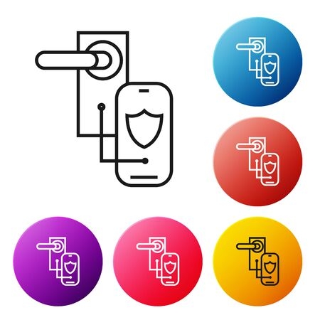 Black line Digital door lock with wireless technology for lock icon isolated on white background. Door handle sign. Security smart home. Set icons colorful circle buttons. Vector Illustration