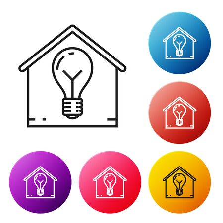 Black line Smart house and light bulb icon isolated on white background. Set icons colorful circle buttons. Vector Illustration Illustration