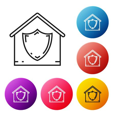 Black line House under protection icon isolated on white background. Protection, safety, security, protect, defense concept. Set icons colorful circle buttons. Vector Illustration