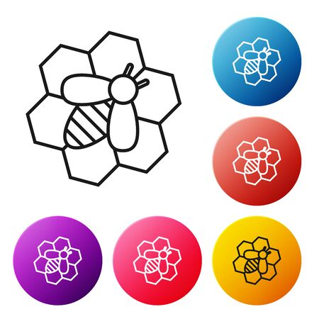 Black line Bee and honeycomb icon on white background. Honey cells. Honeybee or apis with wings symbol. Flying insect. Sweet natural food. Set icons colorful circle buttons. Vector Illustration