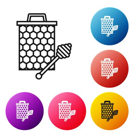 Black line Honeycomb with honey dipper stickicon isolated on white background. Honey ladle. Honey cells symbol. Sweet natural food. Set icons colorful circle buttons. Vector Illustration 向量圖像
