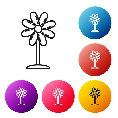 Black line Flower icon isolated on white background. Sweet natural food. Set icons colorful circle buttons. Vector Illustration
