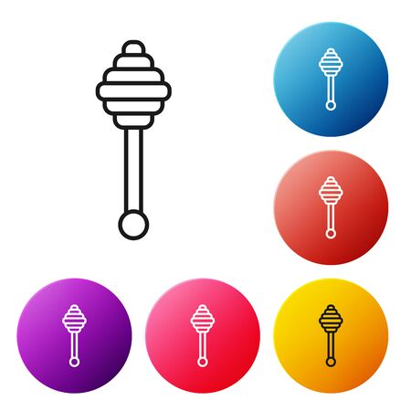 Black line Honey dipper stick icon isolated on white background. Honey ladle. Set icons colorful circle buttons. Vector Illustration