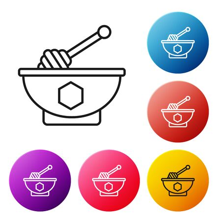 Black line Honey dipper stick and bowl icon isolated on white background. Honey ladle. Set icons colorful circle buttons. Vector Illustration Иллюстрация