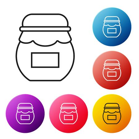 Black line Jar of honey icon isolated on white background. Food bank. Sweet natural food symbol. Set icons colorful circle buttons. Vector Illustration