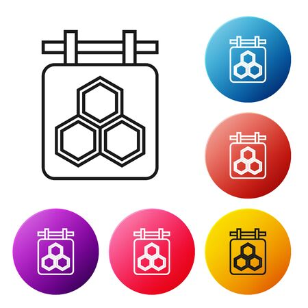 Black line Hanging sign with honeycomb isolated on white background. Signboard icon. Honey cells symbol. Sweet natural food. Set icons colorful circle buttons. Vector Illustration