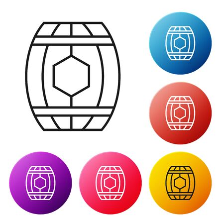Black line Wooden barrel with honey icon isolated on white background. Set icons colorful circle buttons. Vector Illustration