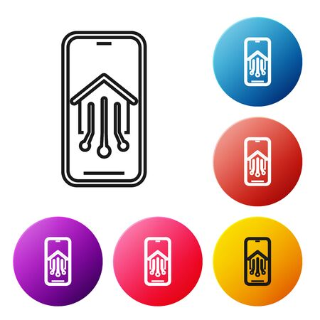Black line Mobile phone with smart home icon isolated on white background. Remote control. Set icons colorful circle buttons. Vector Illustration Foto de archivo - 129252219