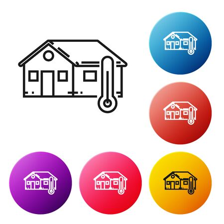 Black line House temperature icon isolated on white background. Thermometer icon. Set icons colorful circle buttons. Vector Illustration