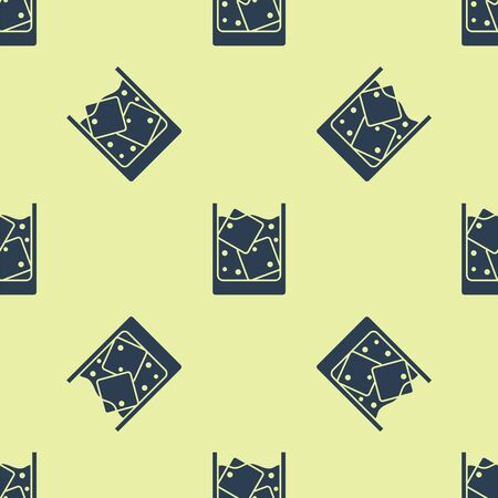 Blue Glass of whiskey and ice cubes icon isolated seamless pattern on yellow background. Vector Illustration