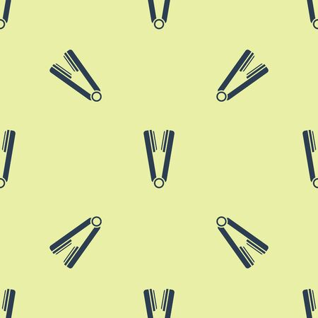Blue Curling iron for hair icon isolated seamless pattern on yellow background. Hair straightener icon. Vector Illustration Zdjęcie Seryjne - 129252227