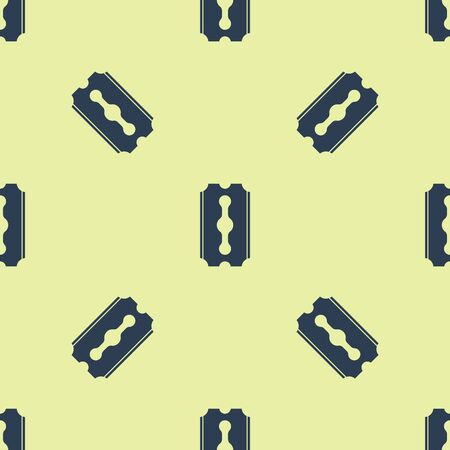 Blue Blade razor icon isolated seamless pattern on yellow background. Vector Illustration