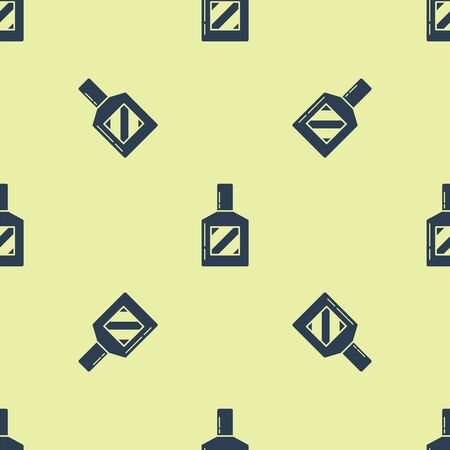 Blue Aftershave icon isolated seamless pattern on yellow background. Cologne spray icon. Male perfume bottle. Vector Illustration Zdjęcie Seryjne - 129252235