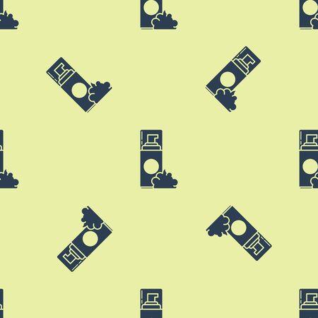 Blue Shaving gel foam icon isolated seamless pattern on yellow background. Shaving cream. Vector Illustration Zdjęcie Seryjne - 129252228