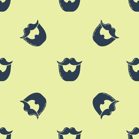 Blue Mustache and beard icon isolated seamless pattern on yellow background. Barbershop symbol. Facial hair style. Vector Illustration