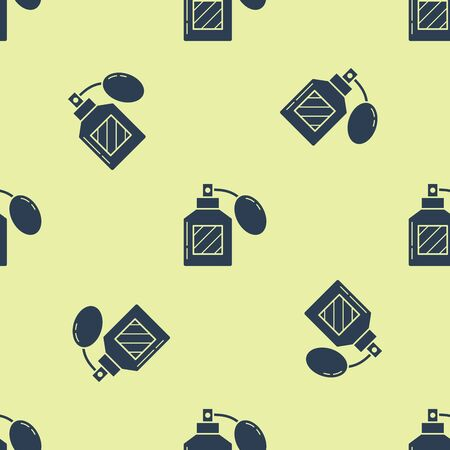 Blue Aftershave icon isolated seamless pattern on yellow background. Cologne spray icon. Male perfume bottle. Vector Illustration