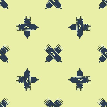 Crossed electrical hair clipper or shaver icon isolated seamless pattern on yellow background. Barbershop symbol. Vector Illustration  イラスト・ベクター素材