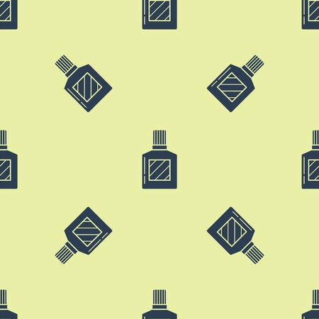 Blue Aftershave icon isolated seamless pattern on yellow background. Cologne spray icon. Male perfume bottle. Vector Illustration Zdjęcie Seryjne - 129252253
