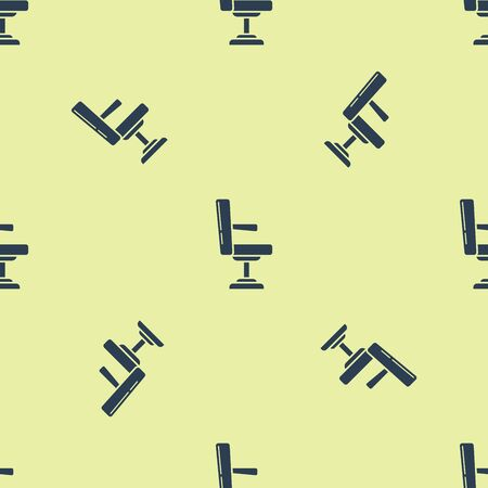 Blue Barbershop chair icon isolated seamless pattern on yellow background. Barber armchair sign. Vector Illustration