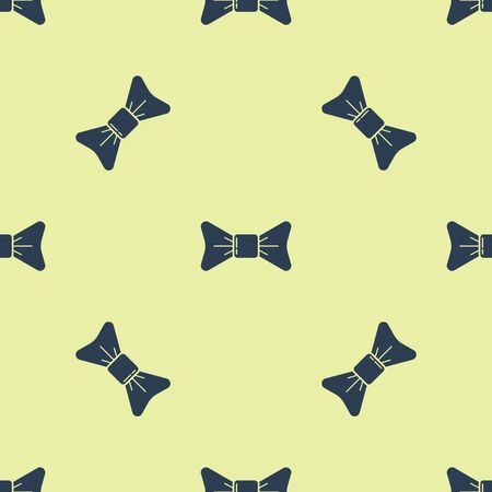 Blue Bow tie icon isolated seamless pattern on yellow background. Vector Illustration