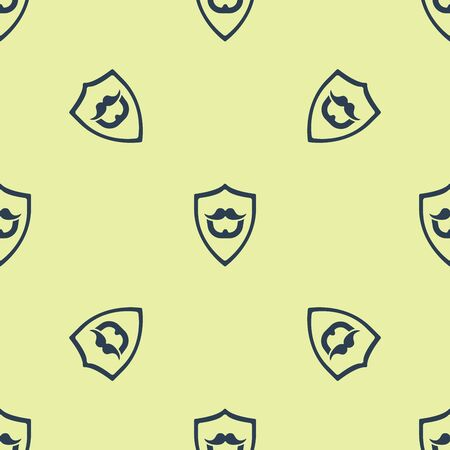 Blue Mustache and beard on shield icon isolated seamless pattern on yellow background. Barbershop symbol. Facial hair style. Vector Illustration  イラスト・ベクター素材