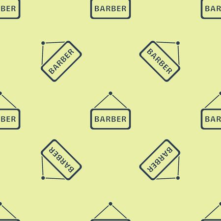 Blue Barbershop icon isolated seamless pattern on yellow background. Hairdresser signboard. Vector Illustration  イラスト・ベクター素材