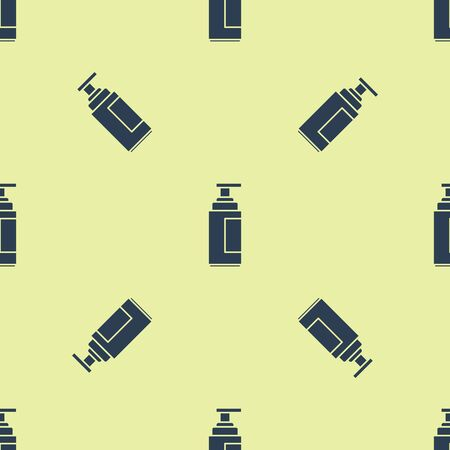 Blue Cream or lotion cosmetic tube icon isolated seamless pattern on yellow background. Body care products for men. Vector Illustration Standard-Bild - 129252267