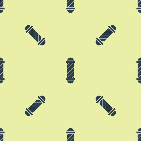Blue Classic Barber shop pole icon isolated seamless pattern on yellow background. Barbershop pole symbol. Vector Illustration