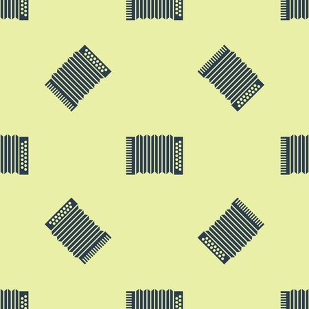 Blue Musical instrument accordion icon isolated seamless pattern on yellow background. Classical bayan, harmonic. Vector Illustration Ilustracja