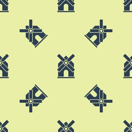 Blue Windmill icon isolated seamless pattern on yellow background. Vector Illustration
