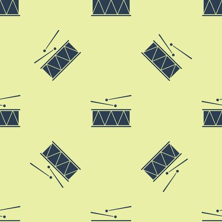 Blue Musical instrument drum and drum sticks icon isolated seamless pattern on yellow background. Vector Illustration Illustration
