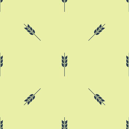 Blue Cereals set with rice, wheat, corn, oats, rye, barley icon isolated seamless pattern on yellow background. Ears of wheat bread symbols. Vector Illustration
