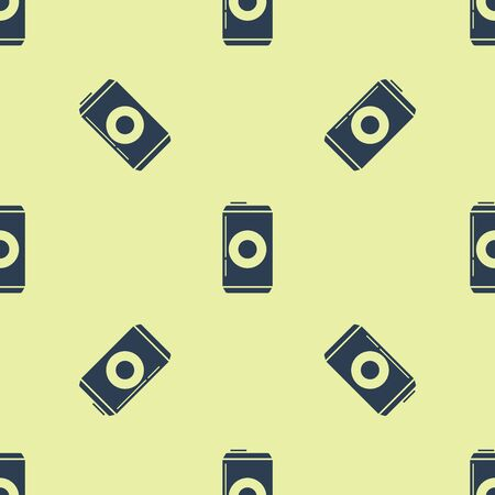 Blue Beer can icon isolated seamless pattern on yellow background. Vector Illustration