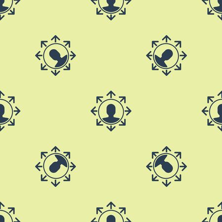 Blue Project team base icon isolated seamless pattern on yellow background. Business analysis and planning, consulting, team work, project management. Vector Illustration