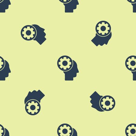 Blue Human head with gear inside icon isolated seamless pattern on yellow background. Artificial intelligence. Thinking brain sign. Symbol work of brain. Vector Illustration Illustration