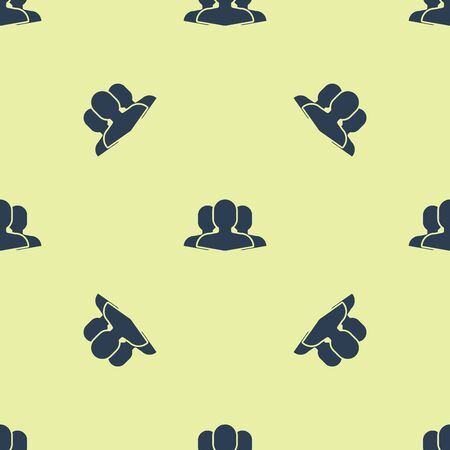 Blue Users group icon isolated seamless pattern on yellow background. Group of people icon. Business avatar symbol users profile icon. Vector Illustration Stock Illustratie