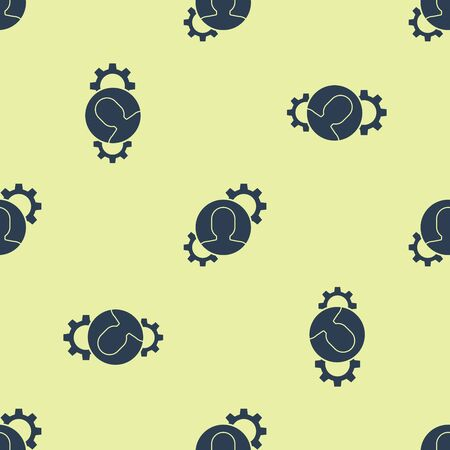 Blue Human with gear inside icon isolated seamless pattern on yellow background. Artificial intelligence. Thinking brain sign. Symbol work of brain. Vector Illustration Illustration