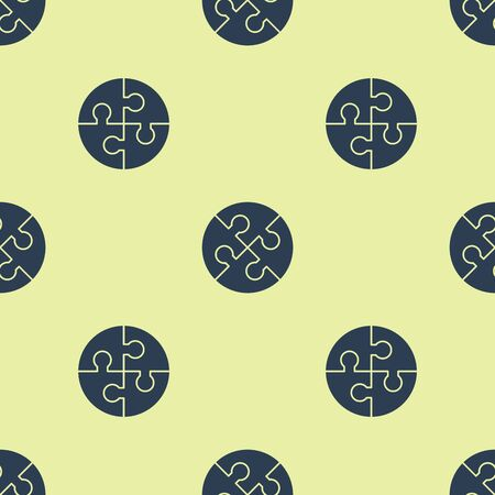 Blue Piece of puzzle icon isolated seamless pattern on yellow background. Business, marketing, finance, template, layout, infographics, internet concept. Vector Illustration
