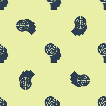 Blue Human head puzzles strategy icon isolated seamless pattern on yellow background. Thinking brain sign. Symbol work of brain. Vector Illustration