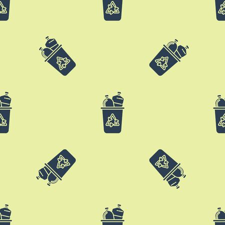 Blue Recycle bin with recycle symbol icon isolated seamless pattern on yellow background. Trash can icon. Garbage bin sign. Recycle basket sign. Vector Illustration 向量圖像