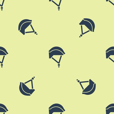 Blue Bicycle helmet icon isolated seamless pattern on yellow background. Extreme sport. Sport equipment. Vector Illustration Фото со стока - 129252327