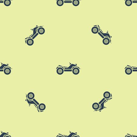Blue All Terrain Vehicle or ATV motorcycle icon isolated seamless pattern on yellow background. Quad bike. Extreme sport. Vector Illustration