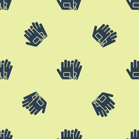 Blue Gloves icon isolated seamless pattern on yellow background. Extreme sport. Sport equipment. Vector Illustration