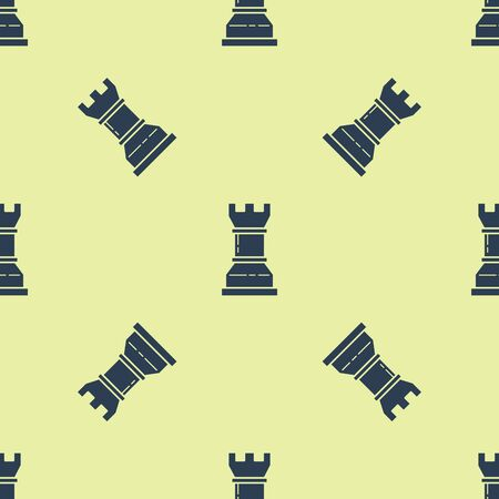 Blue Business strategy icon isolated seamless pattern on yellow background. Chess symbol. Game, management, finance. Vector Illustration