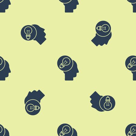 Blue Human head with lamp bulb icon isolated seamless pattern on yellow background. Vector Illustration
