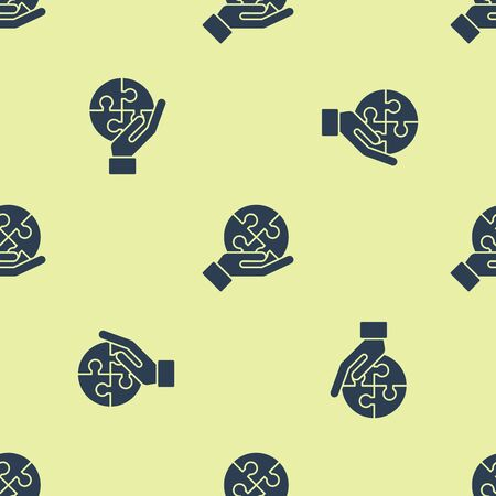 Blue Piece of puzzle in hand icon isolated seamless pattern on yellow background. Business, marketing, finance, template, layout, infographics concept. Vector Illustration